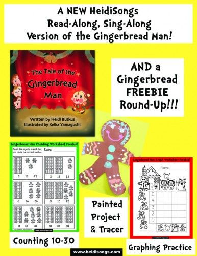 A NEW Read-Along, Sing-Along version of the Gingerbread Man story, & a Gingerbread Man Freebie Round Up, too!