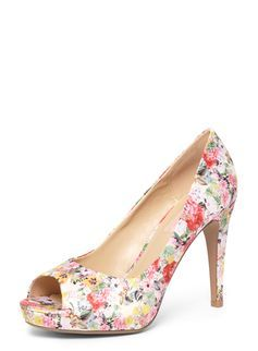 Multi Coloured Floral 'Corinna' Court Shoes