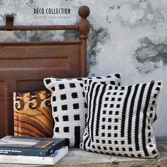 Cushion modern cover, decorative pillow geometric pillow design handmade deco style tapestry crochet
