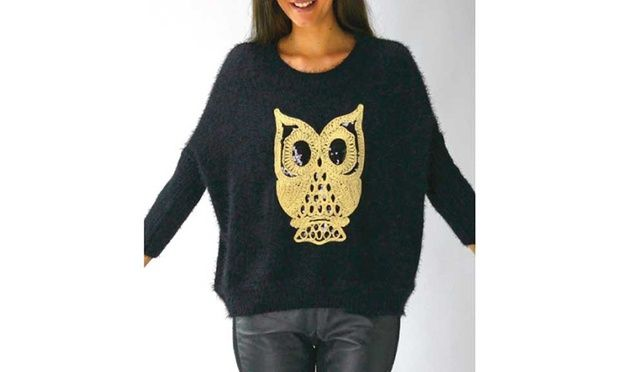 Look smart with a casual ladies' fashion jumper featuring fluffy fabric and sequinned owl design or tiger motif jumper made with 70% cotton