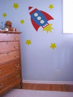 On Sale Retro Rocket Wall Mural Kit $30