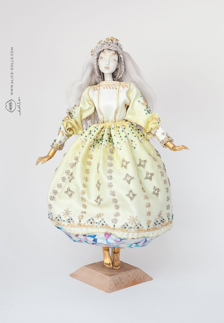 Limoges Porcelain/ Painted with Gold& Platinum Luster/Swarovski crystals & Pearls / Gold-plated Silver crown / Hand embroidered costume / Cotton & Natural Silk costume / Original Alice…
