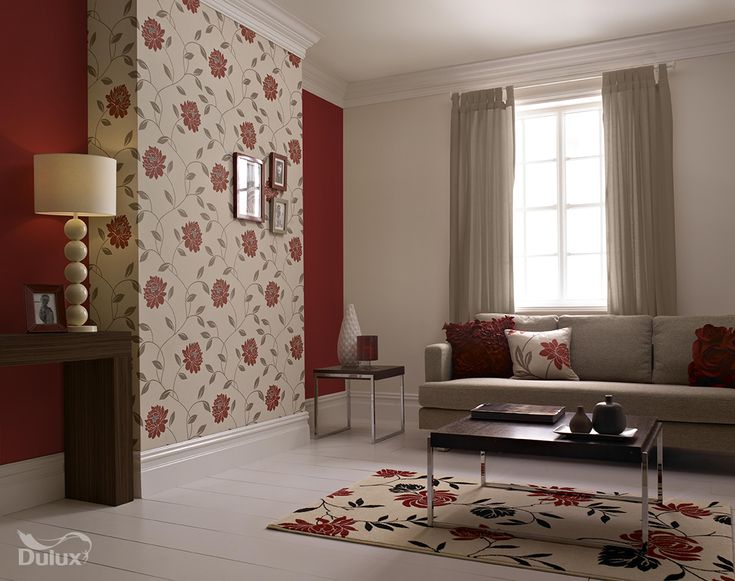 This beautiful floral is the perfect feature wall design adding a touch of glamour to any room.  Featuring Almond White, Roasted Red and Camille wallpaper in Crimson by Dulux.