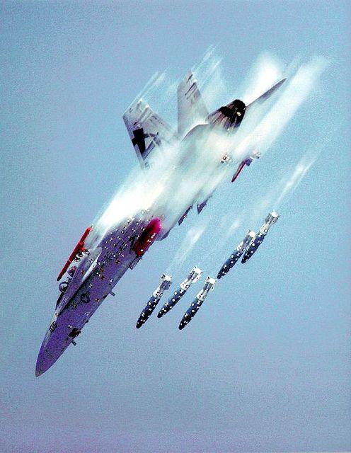 F/A-18C deploying ordnance.