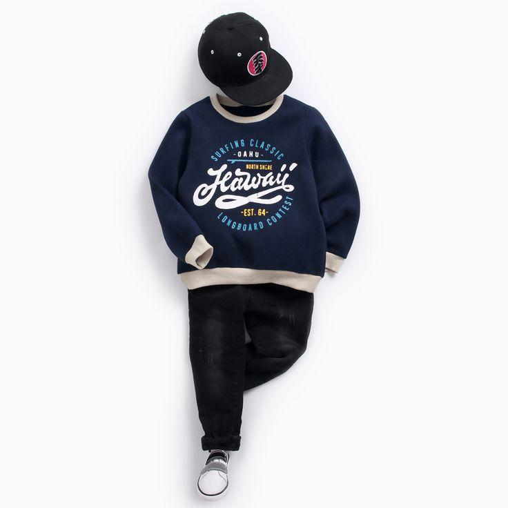 2018 Winter Cartoon Letter Kids Sweatshirt Teenager Fashion Printing Moletom Infantil 3-12Y Thicken Warm Velvet Top Boys T Shirt //Price: $27.98 //     #fashionkids