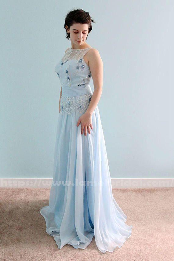 Illusion Neckline Water Blue Colour Lace Beach Wedding Dress A Line