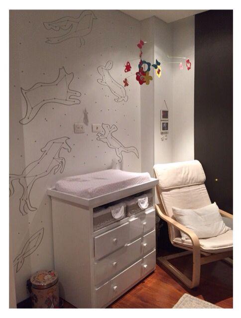 Animal Constellation. Wallpaper Design // Constelación de Animales. Diseño personalizado para cuarto de bebé. #interiordesign #diseñodeinteriores #espaciosdenken #bogota #denkenbabies