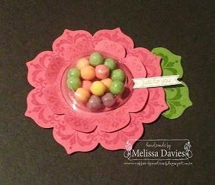 Stampin' Up! Daydream Medallion flower treat holder - FREE TUTORIAL - by Melissa Davies @ rubberfunatics