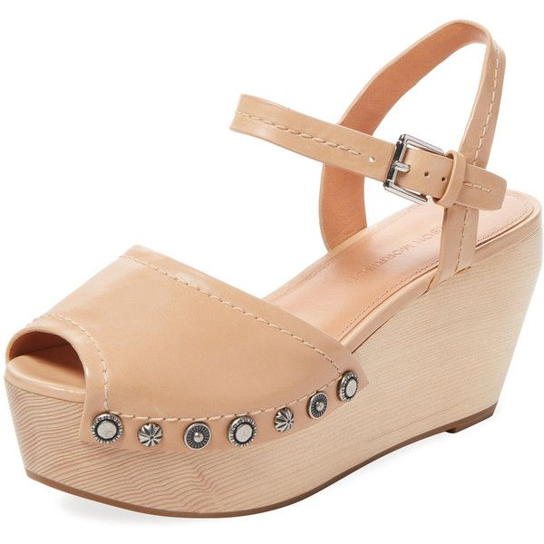Sigerson Morrison Women's Cailey Leather Platform Sandal - Cream/Tan,... ($98) ❤ liked on Polyvore featuring shoes, sandals, tan leather sandals, ankle wrap sandals, leather platform sandals, cream wedge sandals and ankle strap platform sandals