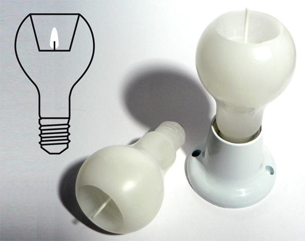 The Light Bulb Effect by Helbert Ferreira and Remi Melander. A wax candle shaped like a bulb. The interior cavity melts straight down without deforming the outer wall and you can screw it into a standard socket. A soft light but one that'll make everyone look gorgeous.