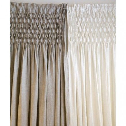 Smocked Curtain Panel In Flax Pretty Delicate Home