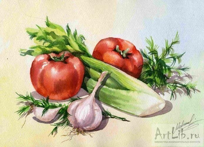 Рисунок фруктов и овощей акварелью