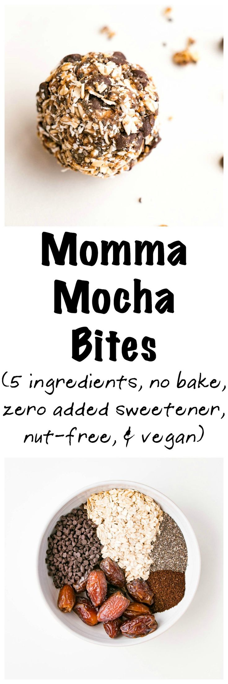 Mocha Momma Bites ~ A hit of caffeine for those sluggish days, a boost of protein and fibre from the oats, dates to sweeten and replenish magnesium post workout, chia seeds for more feel-good nutrition, and chocolate to make it feel like a treat! | My Kitchen Love