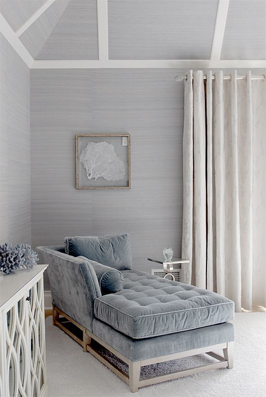 loving everything ! coastal glam is what i like to call it . { gorgeous textured wallpaper ! } silver / grey / white palette .