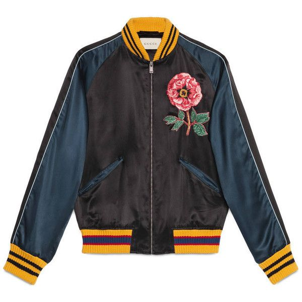 Gucci Silk Bomber Jacket With Embroideries ($2,460) ❤ liked on Polyvore featuring men's fashion, men's clothing, men's outerwear, men's jackets, jackets, outerwear, men, ready to wear, mens jackets and mens silk jacket