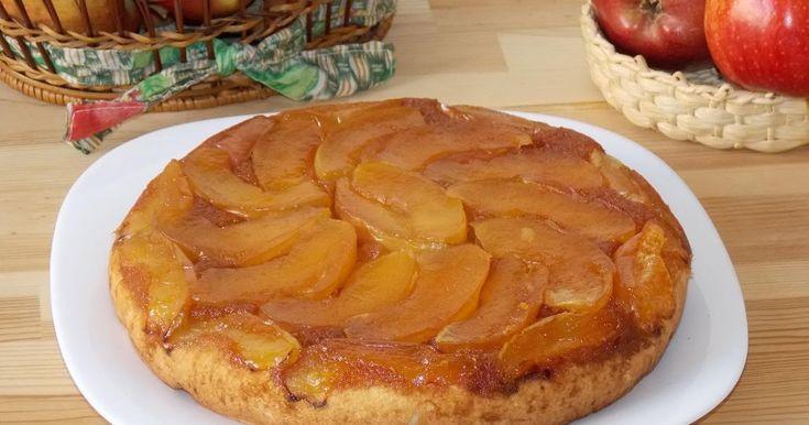 Prajitura rasturnata cu mere, pandispan cu mere