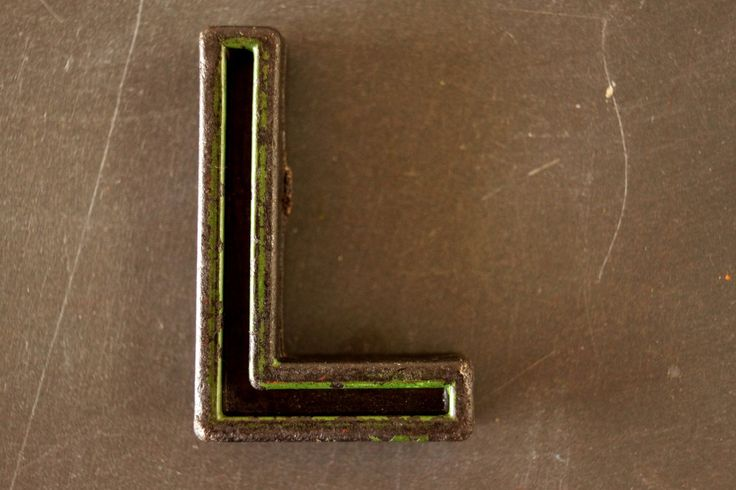 """Vintage Industrial Letter """"L"""" Black with Green and Orange Paint, 2"""" tall (c.1940s)"""
