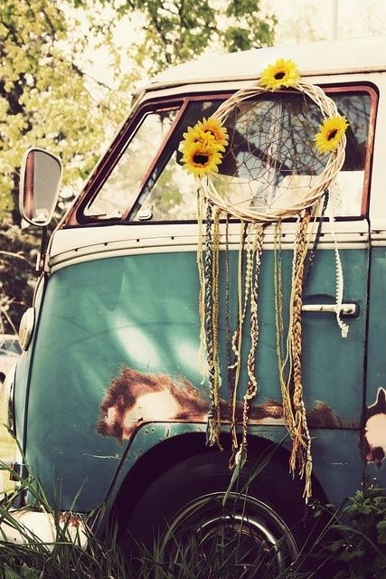 Three of my favorite things…vw vans, dreamcatchers, and wild sunflowers ..  ^ same here