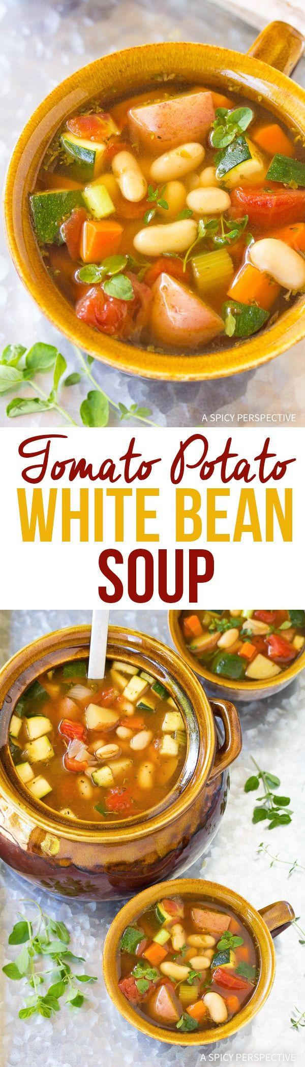 Light and Healthy Tomato Potato White Bean Soup Recipe via @spicyperspectiv