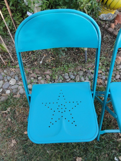 Blue Metal Folding Chairs Leather Zero Gravity Reserved For Malinda Vintage Chair Texas Star Punched Design Aqua Turquoise 2 Available The Home