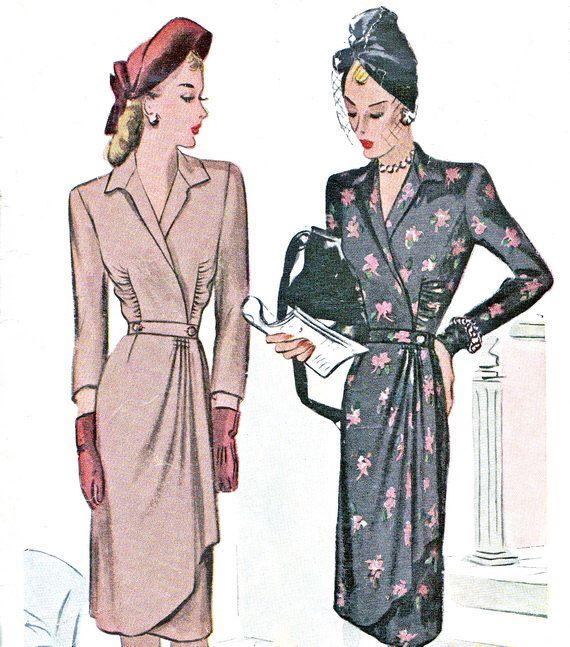 1940s dress Pattern McCall 5893 lato riuniti collo a V abito da sera con cintura sottile drappeggiati gonna finto Wrap Dress Vintage Sewing Pattern busto 32 di paneenjerez su Etsy https://www.etsy.com/it/listing/151665751/1940s-dress-pattern-mccall-5893-lato