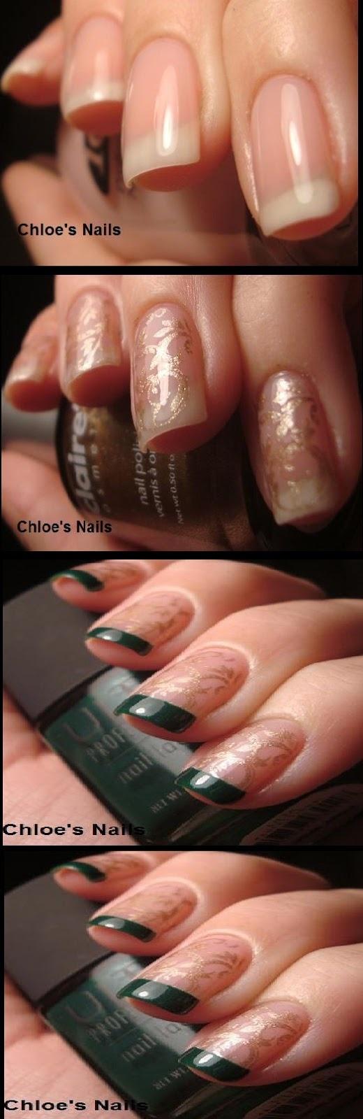 Gold & Green Funky French nails - nail art - nails - nailart how to - nail art tutorial #nailart #nails