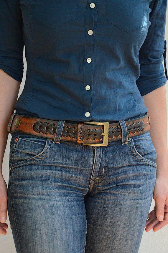 7e116ff353d Womens leather belt Western belt Rustic leather belt for women Cowgirl belt  Womens belt Boho belt Ca
