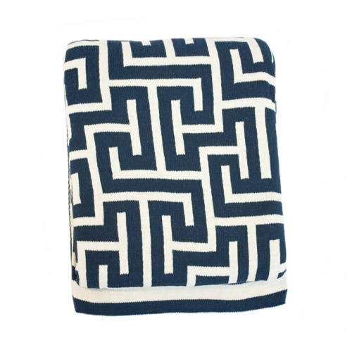 #cozy Navy and Natural Key Throw