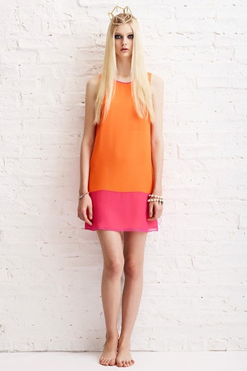 ERIN by Erin Fetherston Resort 2013 Womenswear: Erinfetherstonresort2013 Sixty, Fashion Week, Fetherston Dresses, Erin Fetherston, Resorts 2013, Colors Blocks, Orange Pink, 2013 Collection, Fetherston Resorts