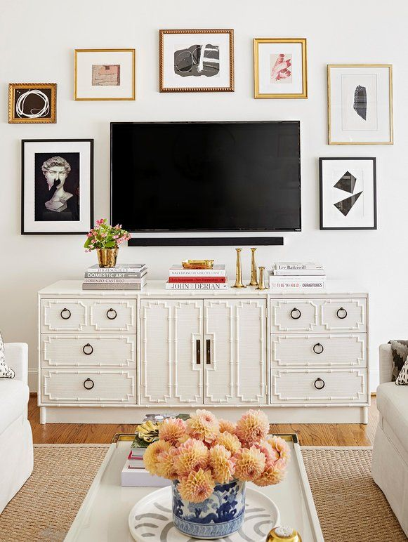 9 Decorating Ideas That Make White Walls Anything But Boring Bedroom Tv Wall Living Room Tv Wall Decor Bedroom #tv #wall #decor #ideas #for #living #room