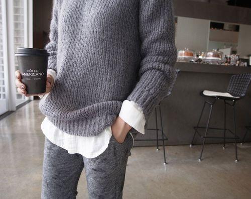 *gray knit, white shirt, gray sweatpants