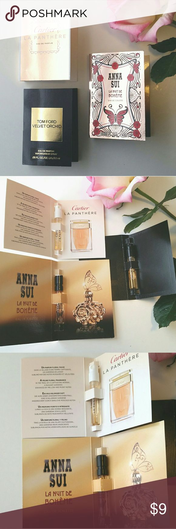 Cartier, Anna Sui, Tom Ford fragrance samples NIB 3 carded sample spray samples.   Cartier La Panthere - Lush gardenia and warm musk. Best with a slinky silk dress.   Anna Sui La Nuit de Boheme - fruity patchouli and roses. Boho fabulous!   Tom Ford Velvet Orchid - Rich vanilla and tobacco layered with woods. Like a fluffy cashmere sweater. Other