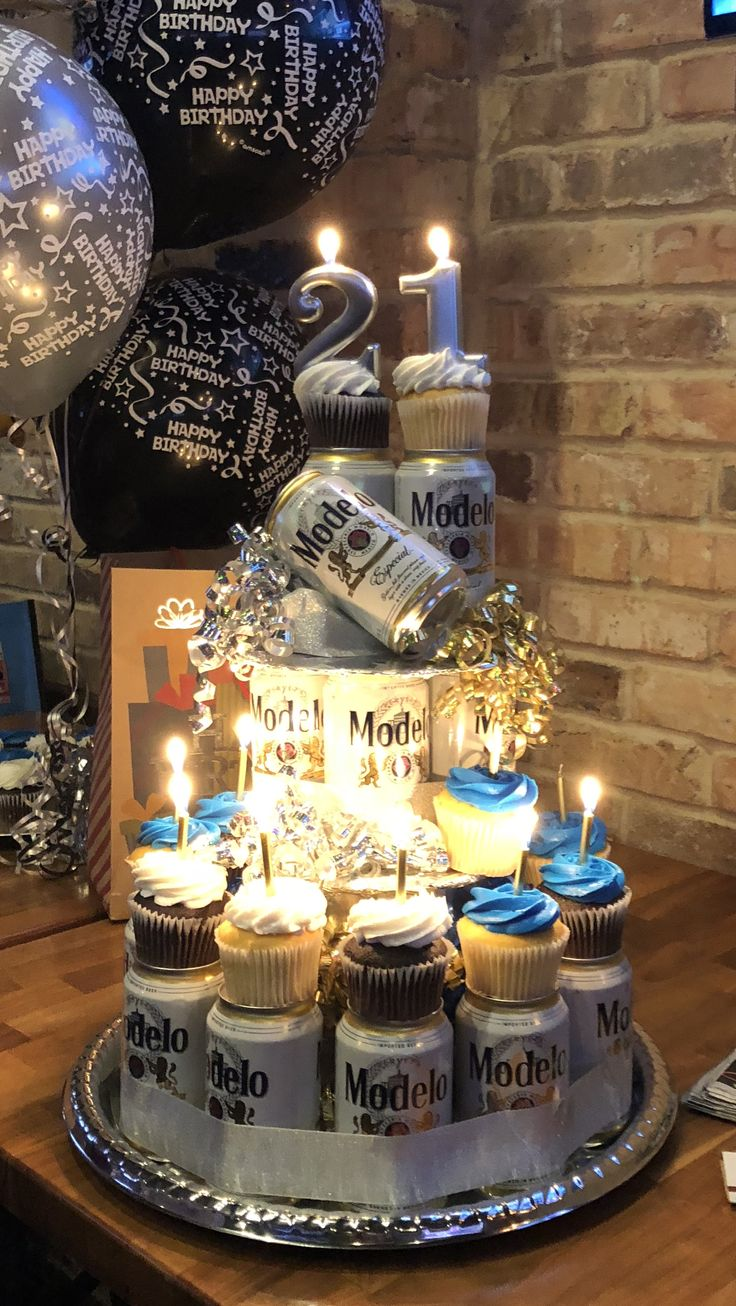 Beer Cupcake Tower Party Gift Ideas Pinterest