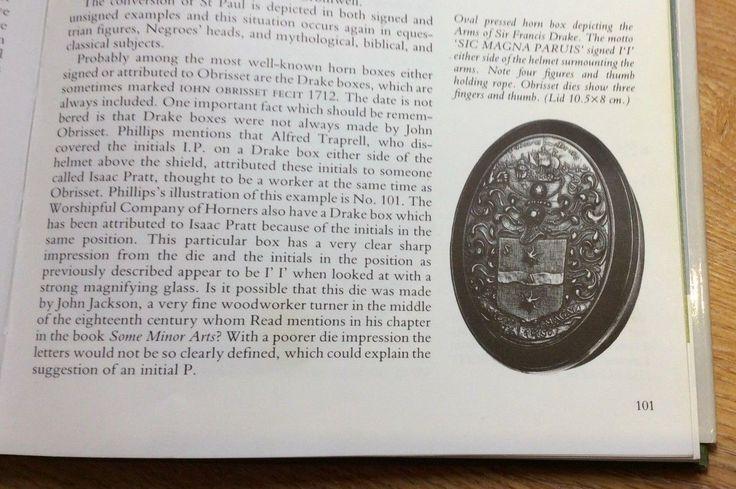 OBRISSET Antique Horn Snuff Tobacco Box  Sir Francis Drake Circa 1720
