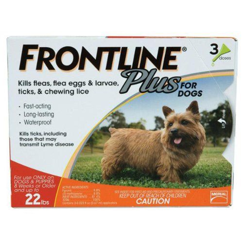 Merial Frontline Plus Flea and Tick Control for 5-22 Pound Dogs and Puppies, 3-doses. For up to 30 days of flea and tick prevention.