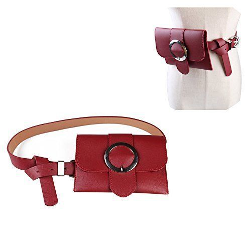Womens Waist Small Bag Fanny Pack Leather Red Handbag Travel Phone Pouch Gift #WomensWaistSmallBagFannyPack #WaistBag