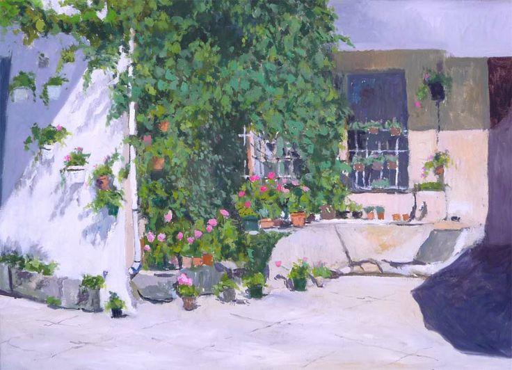 Cuadro al oleo de un patio decorado con tiestos en for Patio decorado