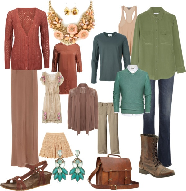 """""""Soft Autumn feminine and masculine"""" by inaglassforest on Polyvore"""