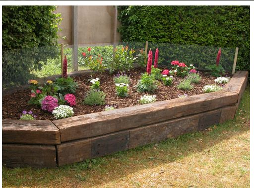 I would like raised beds out of sleepers like this please!