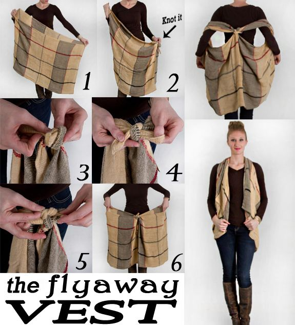 Make your scarf into a flyaway vest! Cute DIY :)