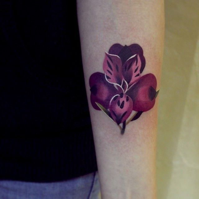 Alstroemeria Flower Tattoo By Sasha Unisex | Tatoo | Pinterest
