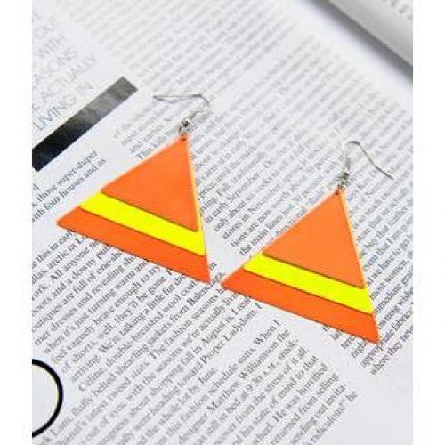 Triangle Cluster Drop Earrings Orange - One Size