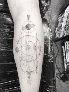Geometric space tattoo by Doctor Woo