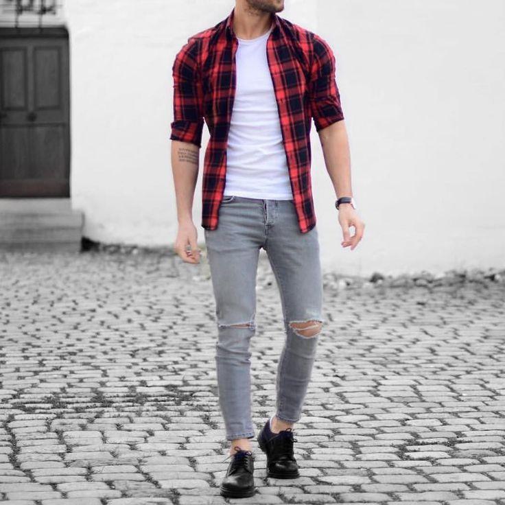 Red plaid shirt and #ripped jeans by @malikarakurt  [ http://ift.tt/1f8LY65 ]