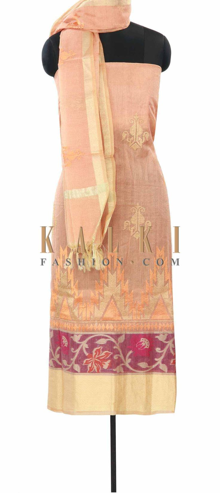 Buy Online from the link below. We ship worldwide (Free Shipping over US$100) Price- $49 Click Anywhere to Tag http://www.kalkifashion.com/peach-unstitched-suit-enhanced-in-weave-embroidery-only-on-kalki.html