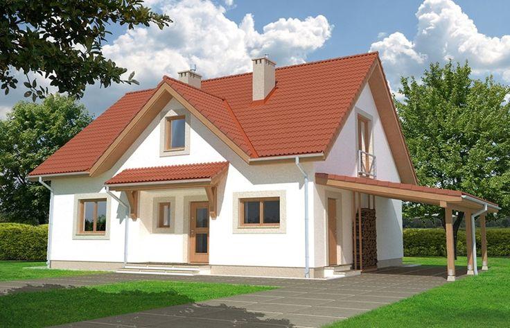 Dom o praktycznym wnętrzu. Dostępna wersja bez garażu, z garażem i z wiatą garażową.