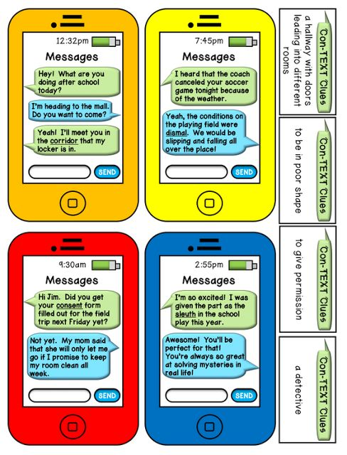 Classroom Freebies: Con-TEXT Clues Center Game