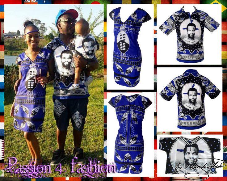 A line Swati Shield dress in royal blue. Mens matching Swati golf shirt with King Mswati face. Matching baby King Mswati Swati golf shirt.