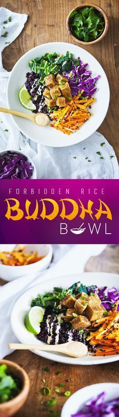 An Asian-inspired Buddha Bowl featuring forbidden rice, crispy spiced tofu and a creamy coconut almond lime dressing. This recipe includes a technique for making the crispiest tofu - without a deep fryer! #vegan #glutenfree #healthy