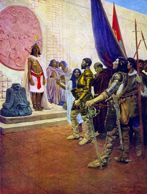"La Pintura y la Guerra ""The kind King Montezuma wanted peace, and said that he would give the Spaniards more gold if they would only go back to their own country"""